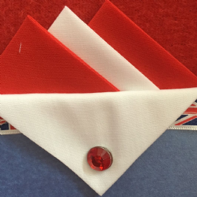 Red and White Hankie With White Flap and Pin